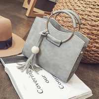 Fashion Women PU Leather Handbag Tassel Shoulder Bag Women Top Handle Totes Metal Ring Crossbody Bags Vintage Messenger Bags