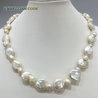 Lose Money Disposal Price Big Size Coin Irregular Shape Baroque Stely Natural Freshwater Pearl Choker Necklace