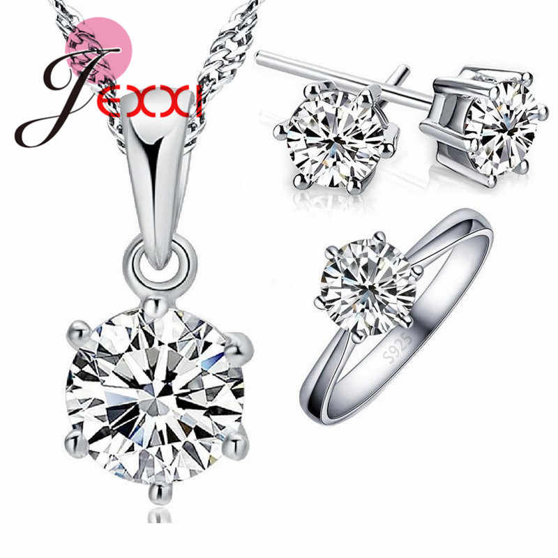 Wedding Jewelry Sets 925 Sterling Silver Color 6 Claw Cubic Zircon CZ Pendant Necklaces Earring Rings Engagement Set