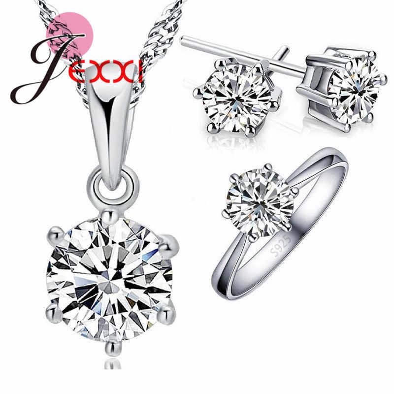 Hochzeit Schmuck Sets 925 Sterling Silber Farbe 6 Klaue Cubic Zirkon CZ Anhänger Halsketten Ohrring Ringe Engagement Set
