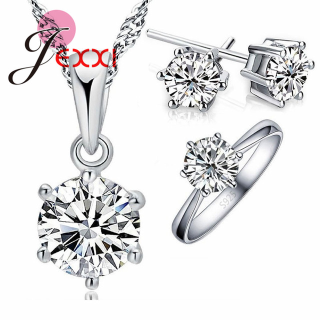 JEXXI Wedding Jewelry Sets 925 Sterling Silver 6 Claw Cubic Zircon CZ Pendant Ne