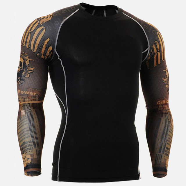 New Running Shirt Men Skull Sport T Shirt Gym Shirt Men Compression Tight Fitness Top Bodybuilding Tshirt Rashgard Soccer Jersey 4