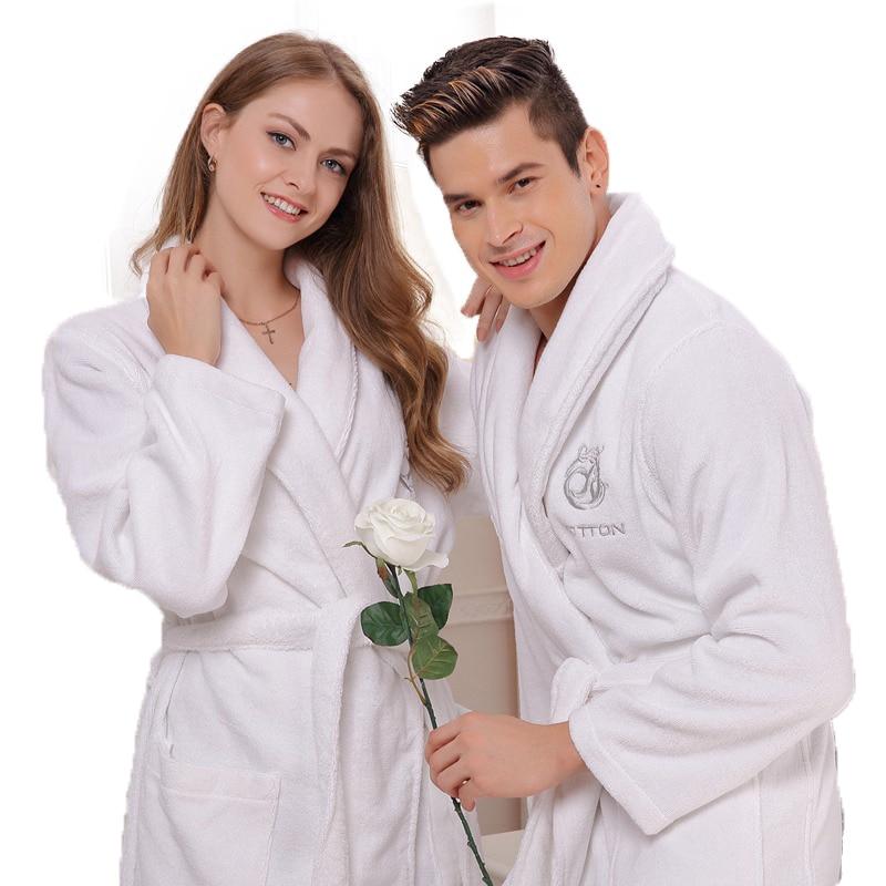 Bavlněné župany dámské pánské noční košile pánská deka ručník fleece roucho tlusté milenky dlouhé měkké XL jaro léto