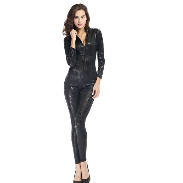 Hot Cat Girl costumes Faux Leather Snake Skin Jumpsuit Front Zip Long SLeeve Bodysuit Spandex Catsuit Women Pole Dance chothing