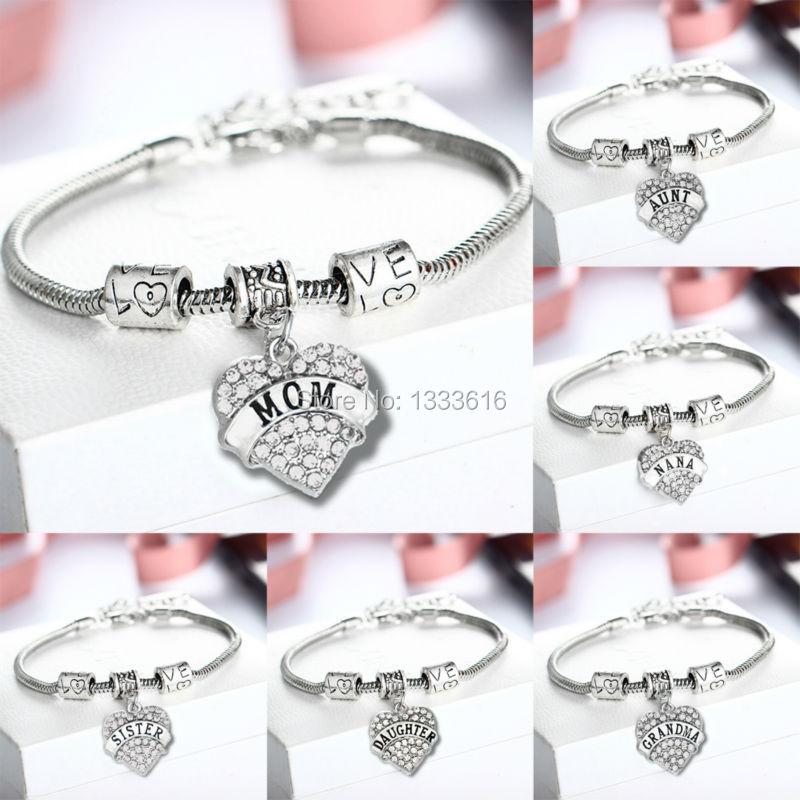 Семья мама бабушка бабуля Blessed прозрачный кристалл сердце Браслеты любовь Бусины Браслеты Для женщин на день рождения Рождество Шарм jewelry б... ...