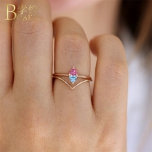 BOAKO Dainty Colorful Zircon Rings For Women Cubic Zirconia Ring Wedding Party Jewelry Stone Bridal anillos Girl Z5