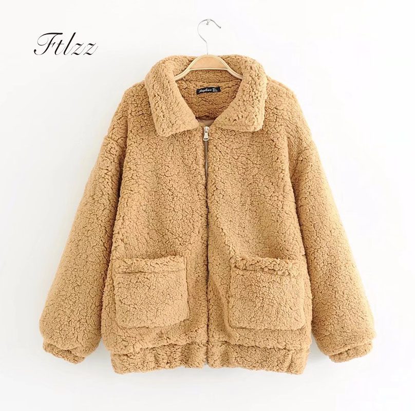 Faux Lambs Jacket 2018 New Autumn Winter Women Casual Solid Long Sleeved Zipper Loose Short Coats Ladies Warm Outerwear Mujer