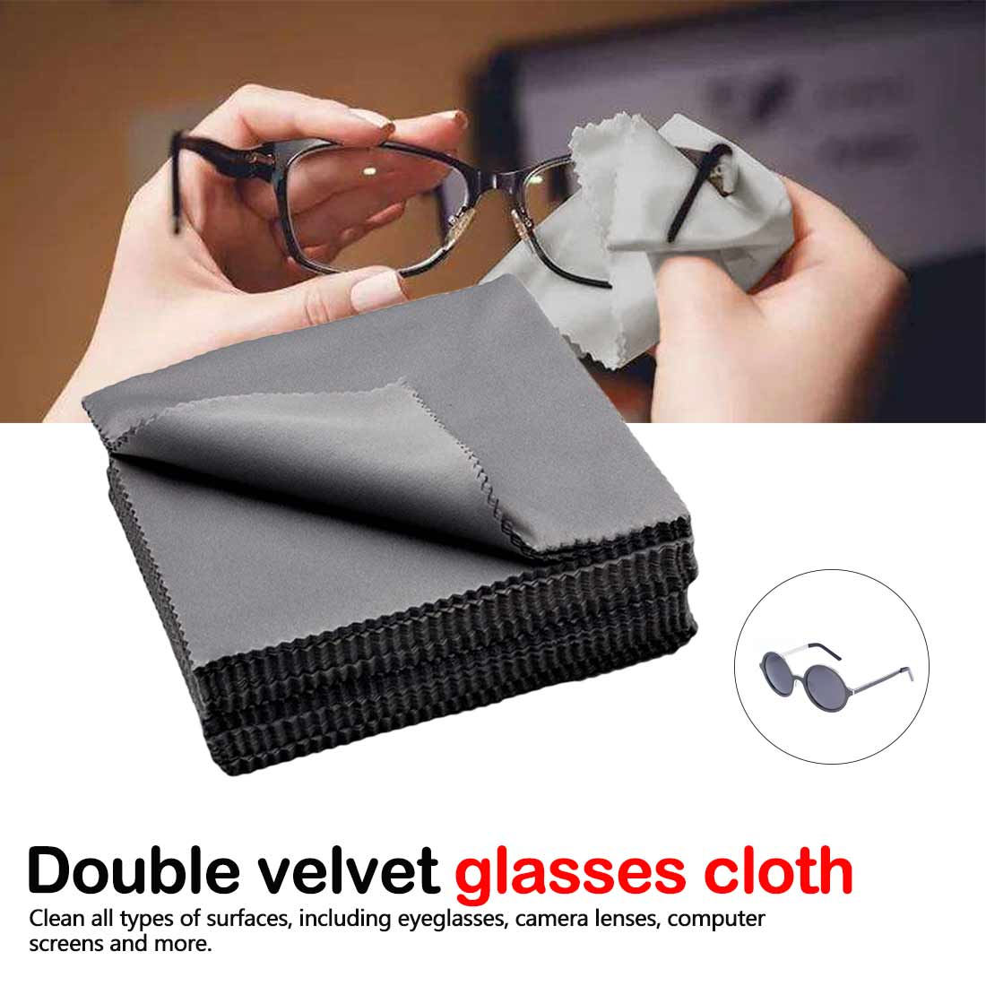 10 pcs/lots High quality Chamois Glasses Cleaner 140mm*135mm Microfiber Glasses Cleaning Cloth For Lens Phone Screen Cleaning Wi image