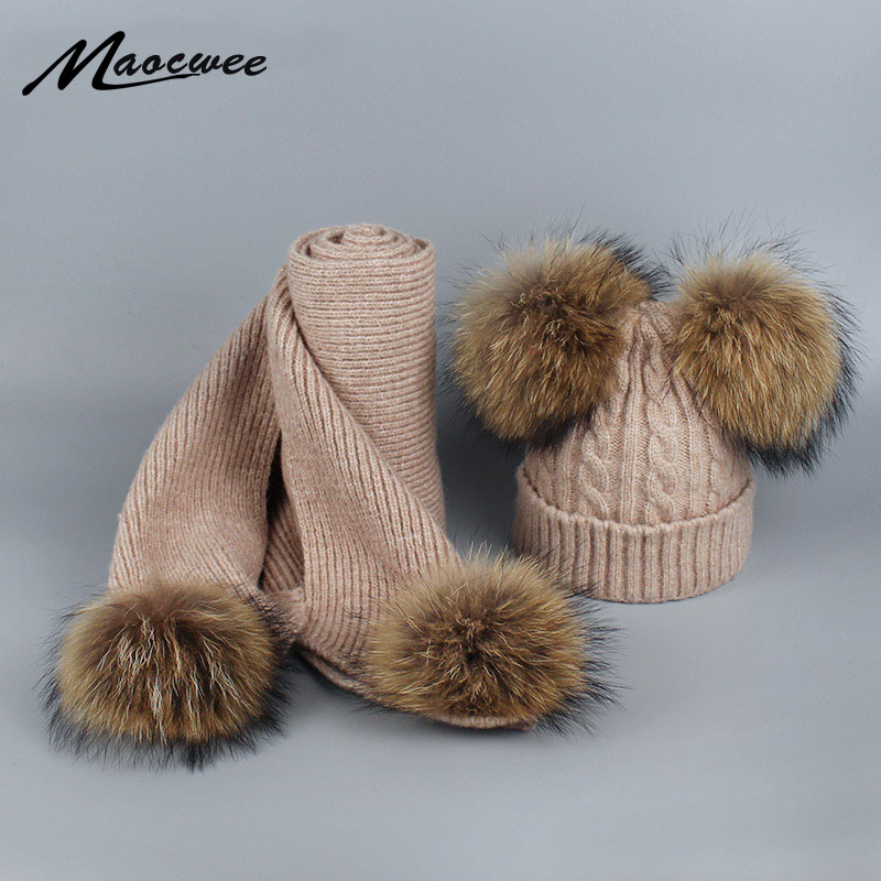 Real Raccoon Fur Pom Pom Scarf Set For Women And Girl Winter Long Knit Scarves For Children And Adult