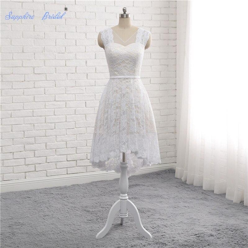 Sapphire Bridal 100% Real Photo Vestido De Novia High Low Country Style Lace Short Wedding Dresses For Bride