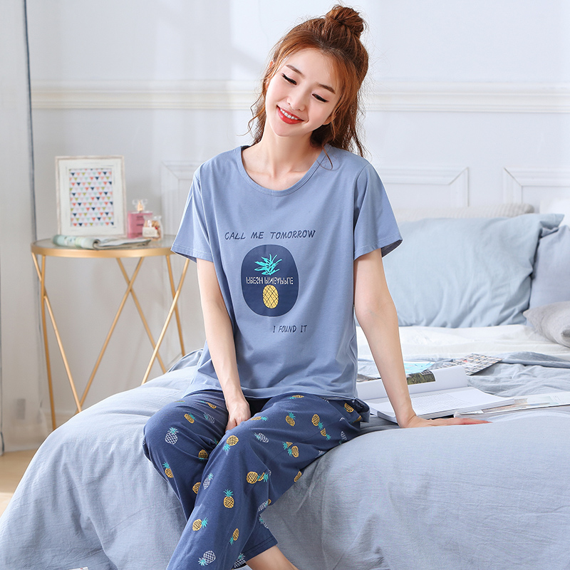 Image 2 - Summer Pajamas Cotton Home Pants Women Sleepwear Thin Pyjama Women Pants Female Casual Lady Home Wear Plus Size XXL 3XL 4XL 5XLPajama Sets   -