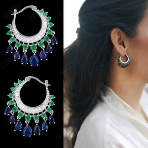 Image 1 - GODK 34mm  Elegant Water Drop Design Green Blue Full Mirco Cubic Zirconia Bridal Wedding Women Tassel Earring Fashion Jewelry