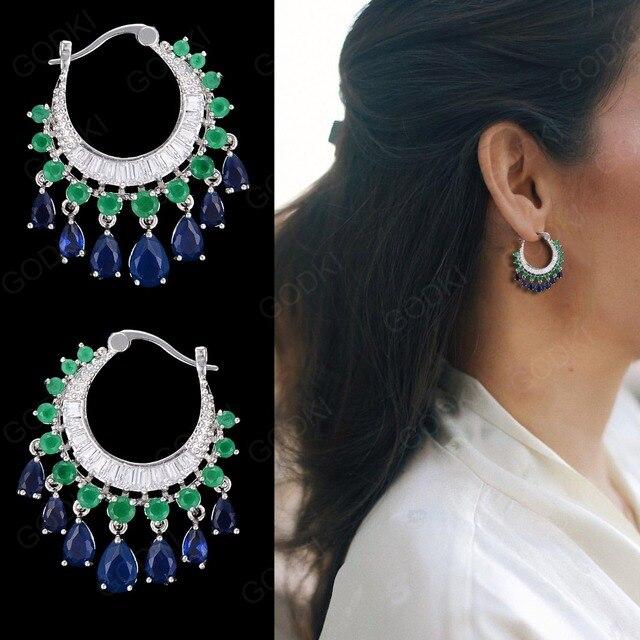 GODK 34mm  Elegant Water Drop Design Green Blue Full Mirco Cubic Zirconia Bridal Wedding Women Tassel Earring Fashion Jewelry