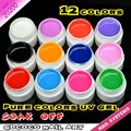 #20200 nail art 12 color summer color uv gel kit, bright color shining uv color paint gel kit