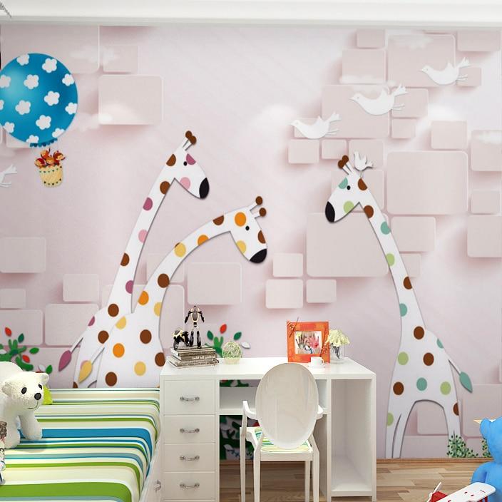 Custom 3d Mural Wallpaper 3D Kindergarten Children Room Bedroom Living Room  Cartoon Pink Giraffe Hot Air Balloon Wallpaper Mural In Wallpapers From  Home ...