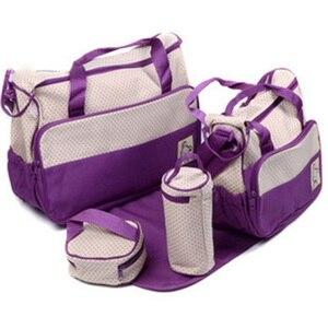 Image 1 - 5PCS/Set Large Diaper Bag baby Diaper Bags Durable Multifunctional Big Capacity Nappy Kids Bags Waterproof Tote Bags T0036