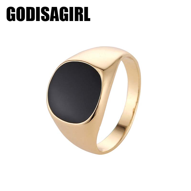 New Fashion Size 7-12 Vintage Brand Hot Sale Classic Gold color Mens Jewelry Enamel Black Rings For Men