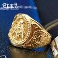 Beier new Arrival Unique Design Style Stainless Steel Freemason Ring Punk Design Skulls Rings for men BR-Q022
