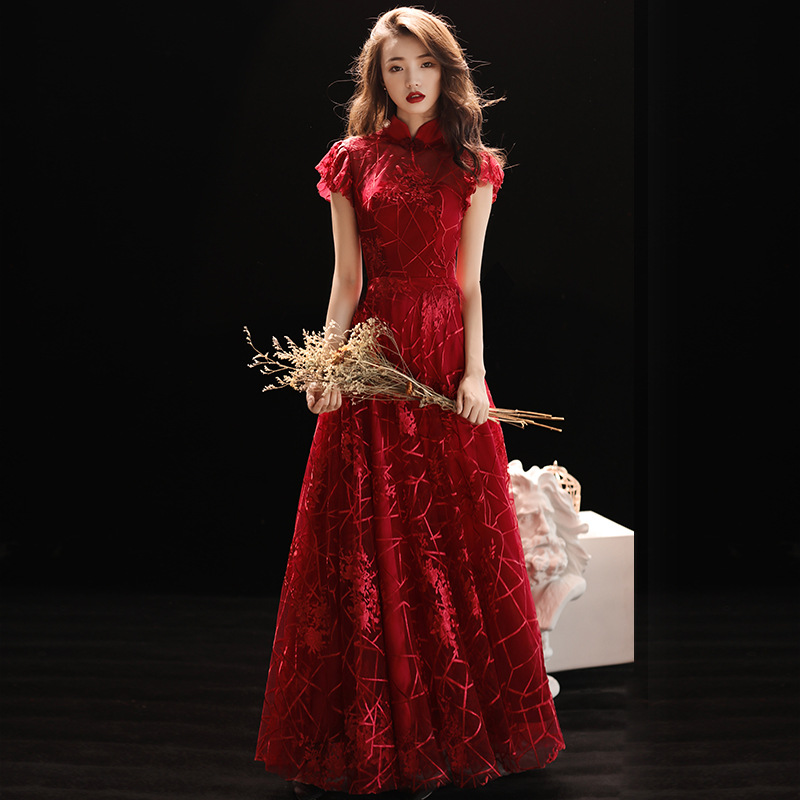 Elegant Female Chinese Classic Cheongsam Traditional Evening Party Dress Sexy Slim Long Qipao Large Size 3XL Lace Vestidos
