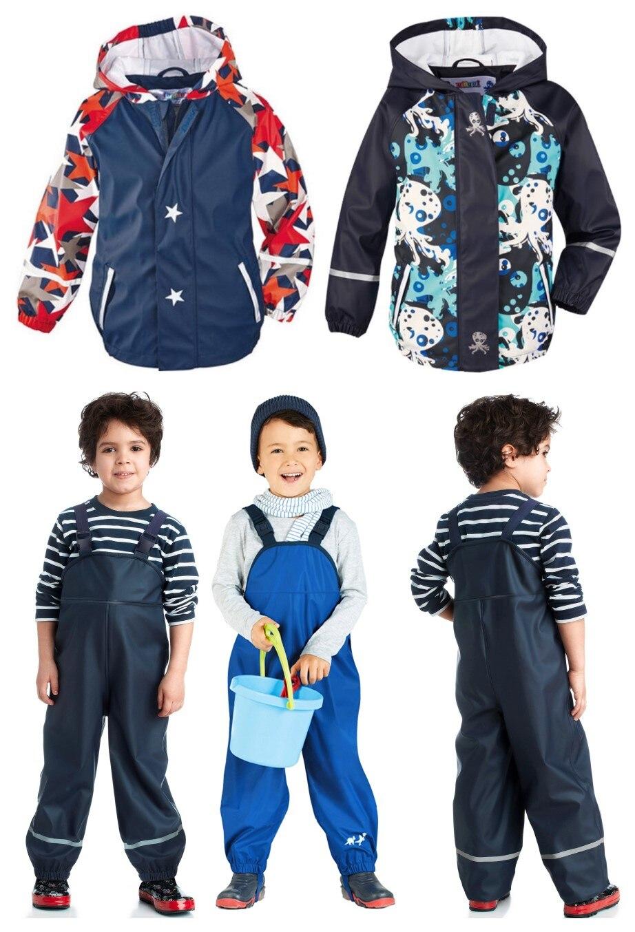 Printemps, été et automne garçons et filles enfants PU en cuir poncho imperméable coupe-vent veste extérieure + pantalon costume