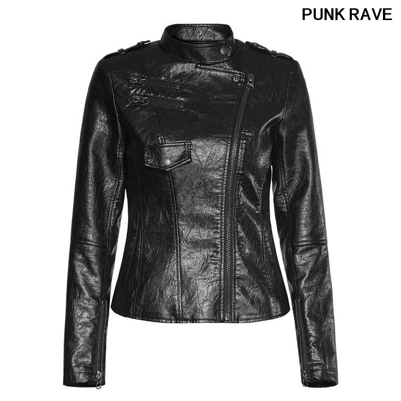 אופנה פאנק פו עור אופנוע רוכסן שחור גבירותיי מעיל פופולרי רוק מצויד הניצוץ PU קצר מעיל פאנק רווה OPY-215