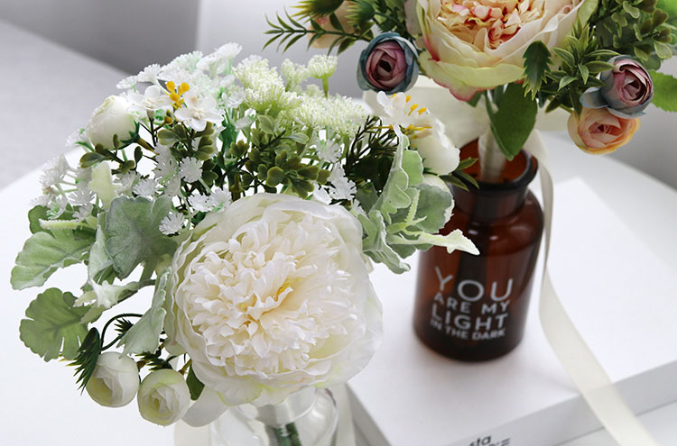 Wedding Bouquet for bridesmaids flowers artificial rose peony (5)