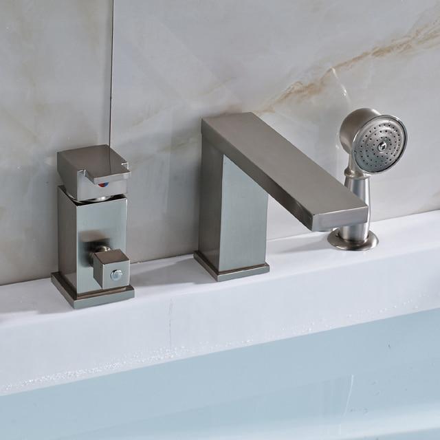 Ulgksd 3pcs Bathroom Faucet W/ Hand Shower Mixer Taps Bathtub Mixer ...