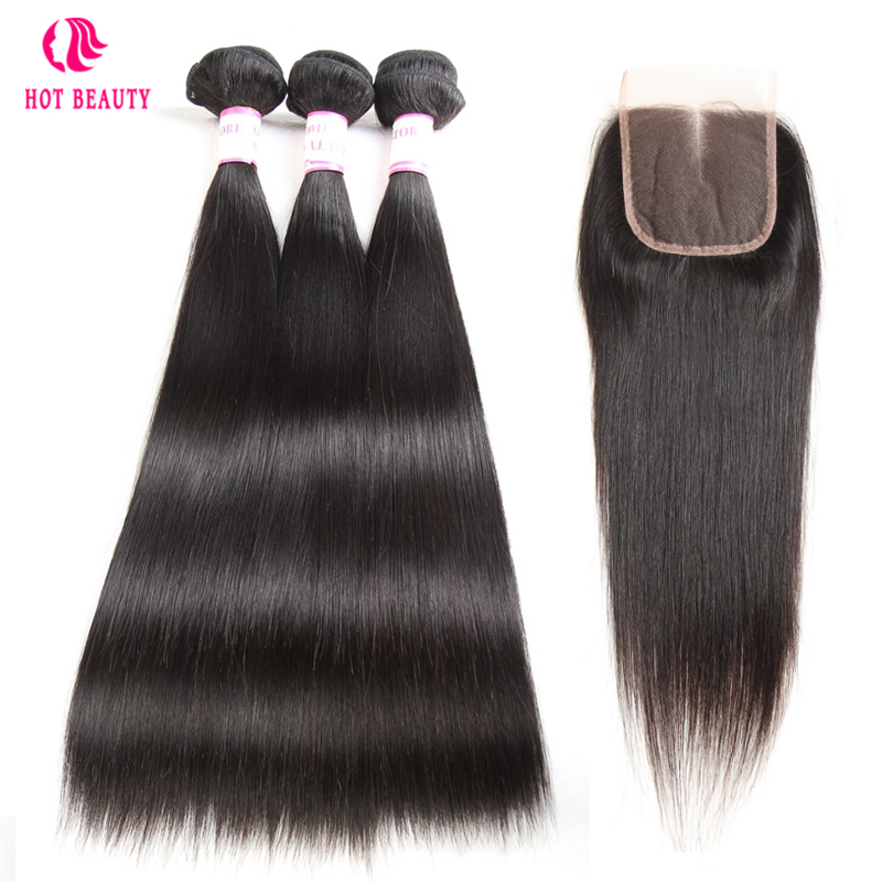 Hot Beauty Hair Brazilian Remy Hair Weave Bundles Extension Straight Hair Human Hair Bundles With Closure