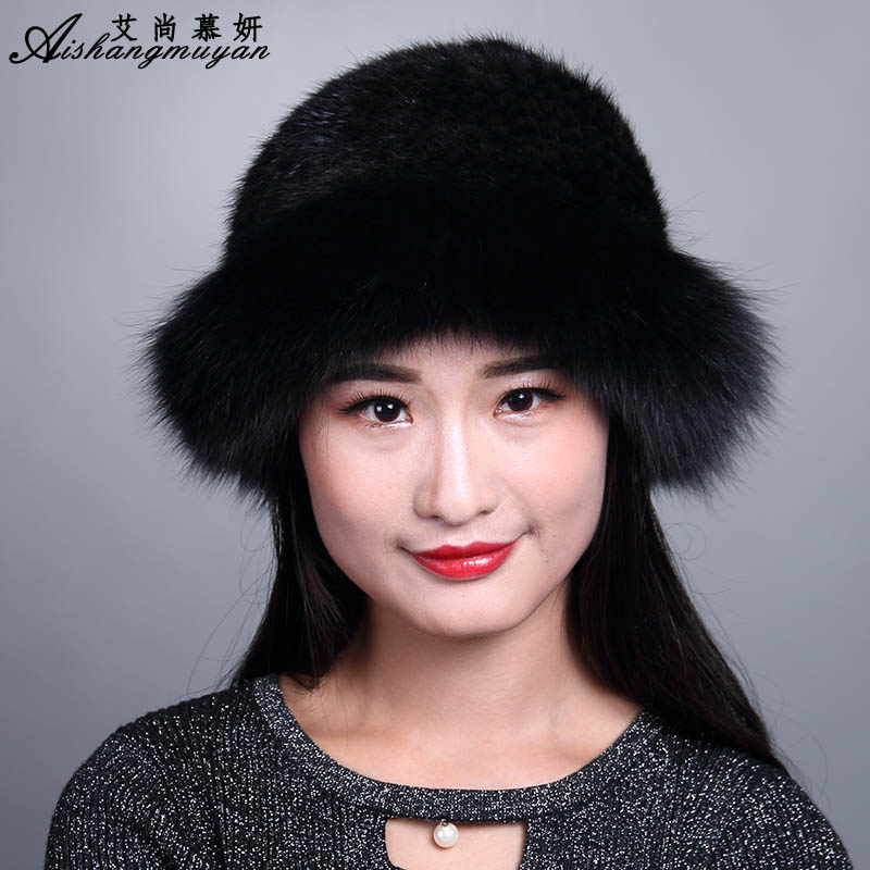 Solid Real Mink Fur Hat Cap For Women New Thicken Warm Female Cap Winter Knitted Mink Fur Hats Lady Girl Skullies Beanies Cap foreign trade explosion models in europe and america in winter knit hat fashion warm mink mink hat lady ear cap dhy 36