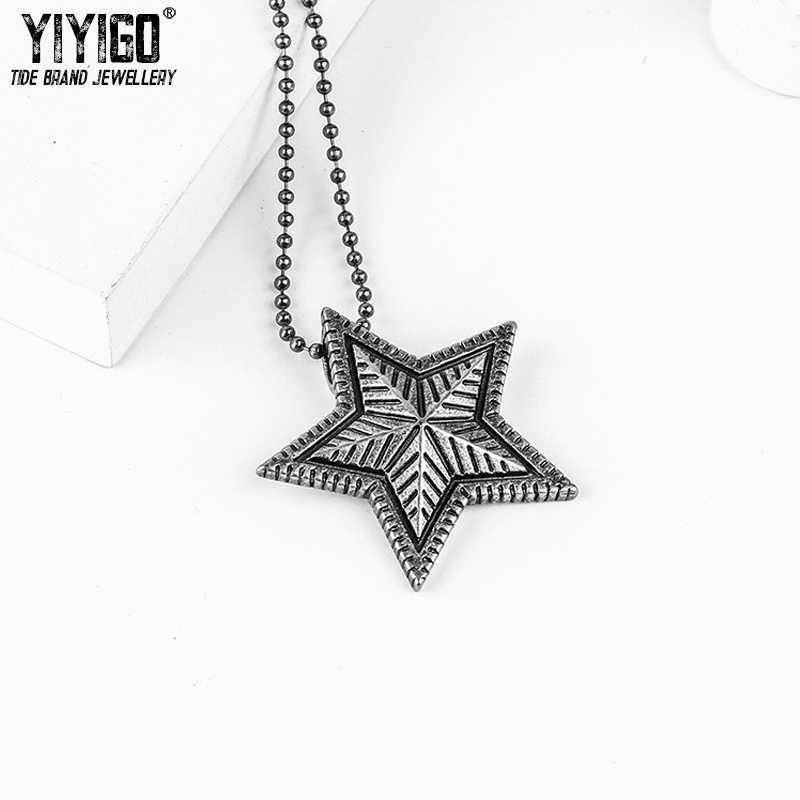Titanyum pentagramı kolye kolye gelgit marka Wu Yifan Zico aynı paragraf erkekler kadınlar boncuk kazak zinciri severler kolye