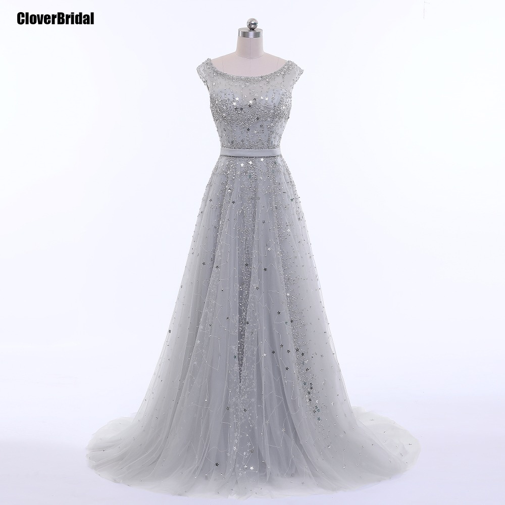 2017 latest glitter stars beading sleeveless long elegant prom dresses imported party dress A line vestido longo prata