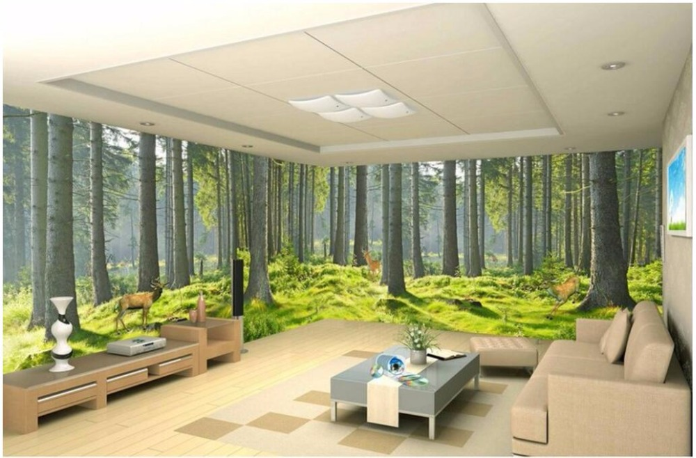 3d room wallpaper custom mural fresh green forest nature for Nature room wallpaper