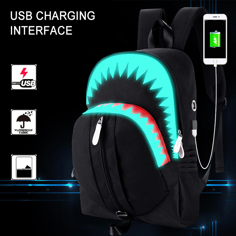 Big Mouth Shark Luminous School Backpack For Boys And Girls Men USB Charge Travel Bolsa Mochila 2019 Fashion Student School Bags