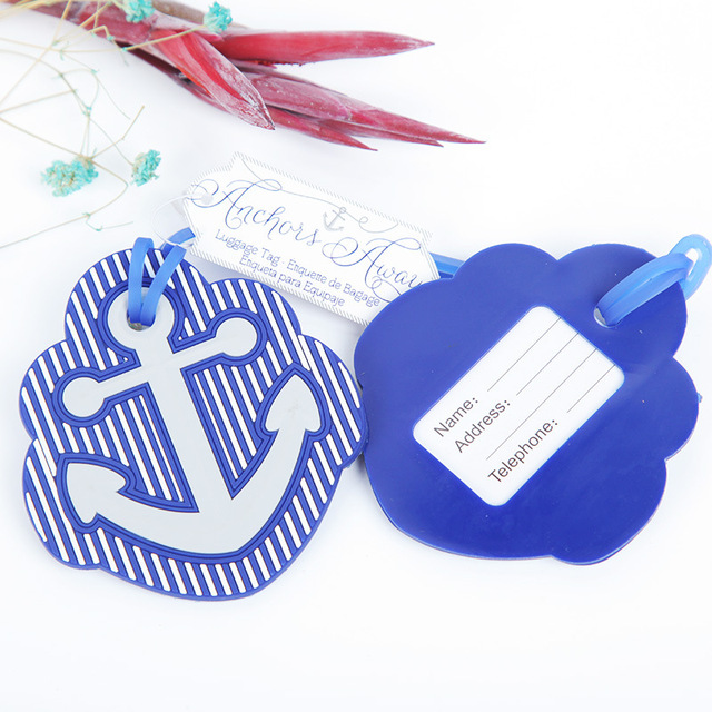 beach theme rubber anchor luggage tag favors wedding party giveaway