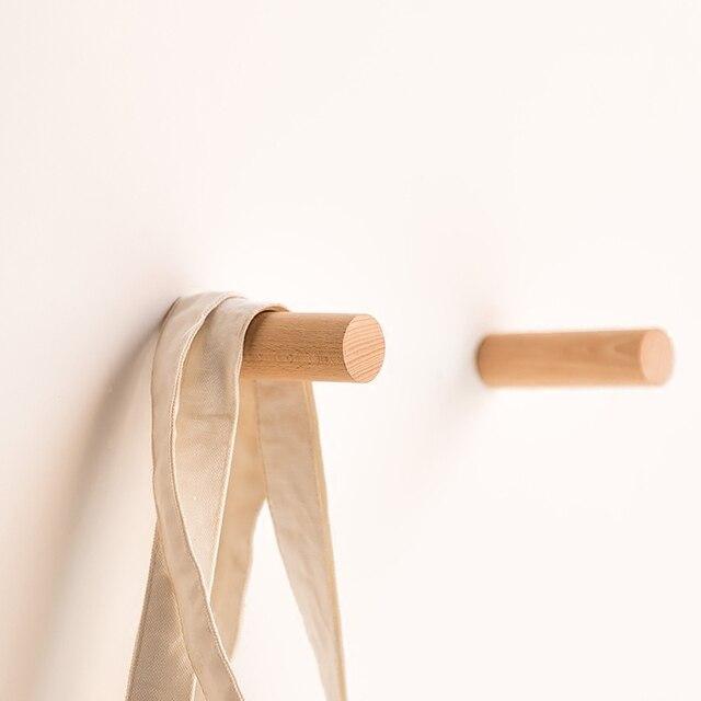 Nordic Schwarz Nussbaum Runde Holz Modernes Design Wand Tür Kleidung Kleiderhaken Rack Für Korridor Zimmer Badezimmer