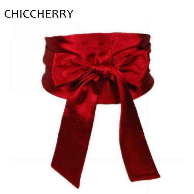 c6d82fe0297 Nouveau Mode Cinto Feminino La Haute Large Ceinture Noir Blanc Rouge Satin  Soie Ceintures Pour Femmes