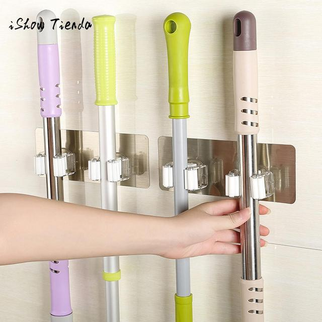 Wall Mounted Mop Holder Brush Broom Hanger Organizer Storage Rack Kitchen Tool Hanging Hooks Bathroom Products