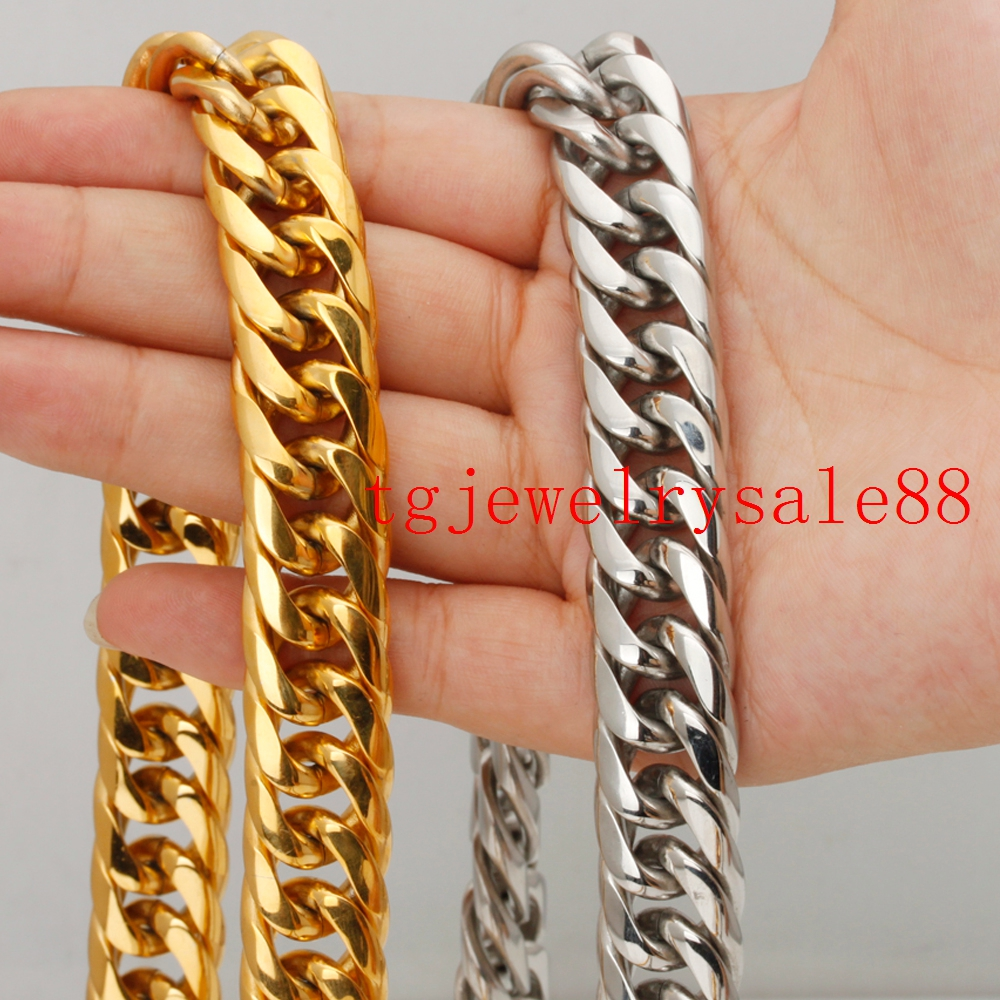 "18mm Width 316L Stainless Steel Silver/Yellow Gold Cuban Curb Necklace Or Bracelet Biker Men Jewelry 7-40"" Customized Size"