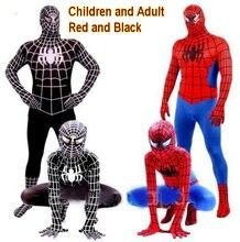 Паук человек-паук косплей взрослых костюмы красный костюм детей черный одежда дети
