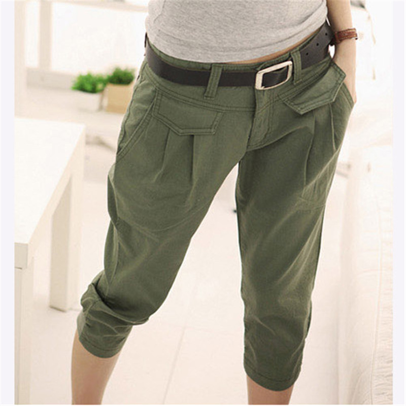Popular Womens Army Green Baggy Loose Cargo Pants Wide Boyfriend Combat