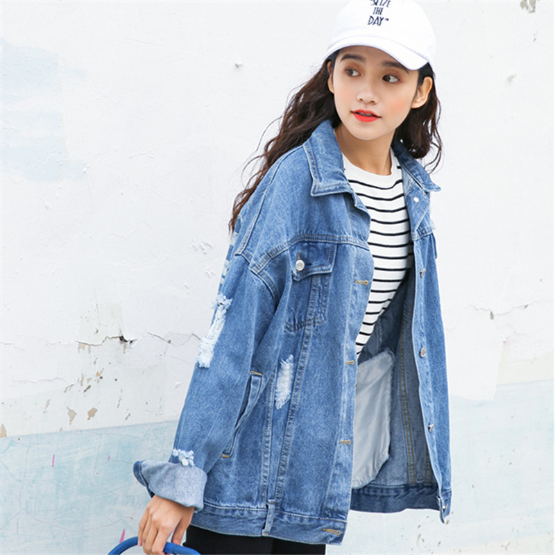 2017 Japan Fashion Women Denim Jacket Frayed Loose Long Streetwear Jeans Jackets Cardigan Coat Print Blue Female Personality Top Детская кроватка