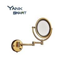 Ванная комната Зеркала роскошный золотой Зеркала для ванной Нержавеющая сталь Макияж косметический Зеркала настенный Зеркала