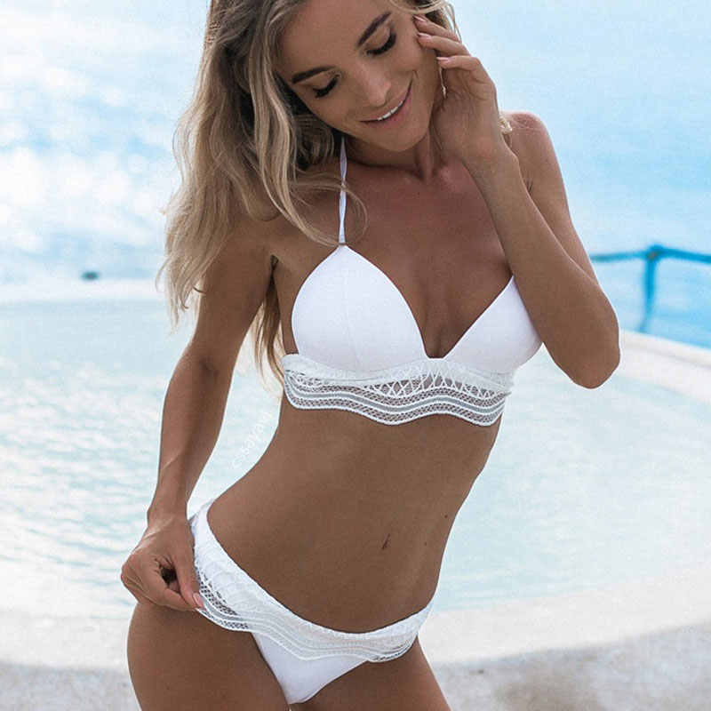 Cuello Baño Bikini Alto 2018 Crop Mujeres Ahuecado Nuevo Brasileño Geomet Uttu Micro Traje Playa De Mujer Biquini 45RScAj3qL