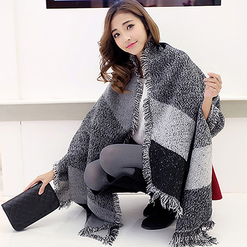 Women Long Cashmere Winter Wool Blend Soft Warm Thickening   Scarf     Wrap   Shawl