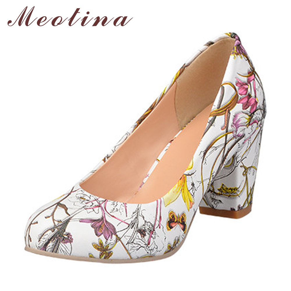 Meotina Haute Talons Femmes Chaussures Talons Bout Rond Talons Carrés Femelle fleur Pompes Pas Cher Travail Chaussures Jaune Rouge Grande taille 9 10 43