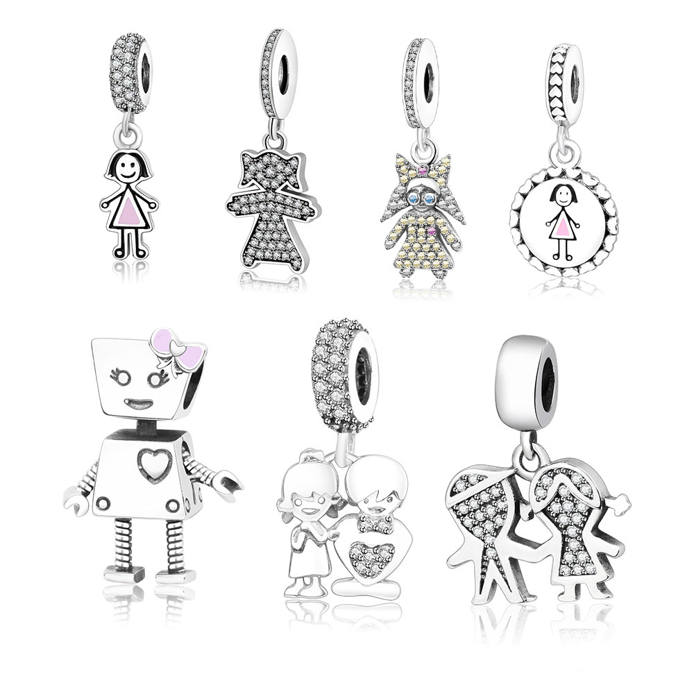 Fit Original Pandora Charm Bracelet S925 Sterling Silver Beads Cute Boy Girl Family Pendant Charm DIY Jewelry Making Berloque strollgirl car keys 100% sterling silver charm beads fit pandora charms silver 925 original bracelet pendant diy jewelry making