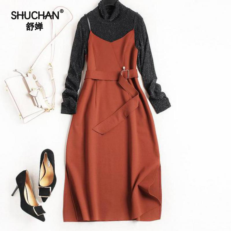 SHUCHAN 2017 Autumn Women Vintage Dress New Arrival Elegant Add A Belt Dress Knitted Pullover Patchwork Roman Cloth Vestido 7970 adidas original new arrival official neo women s knitted pants breathable elatstic waist sportswear bs4904