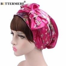 BUTTERMERE Headscarf Bandana Skull Caps Women Chemotherapy Flower Sation Turban Fashion Headwear Bow Pregnant Ladies Hats