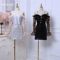 Cakucool Sequins Shiny Dress Women Strapless Off Shoulder Sexy Vestido Mesh Ruffle Long Sleeve Pearl Sheath Bodycon Mini Dresses