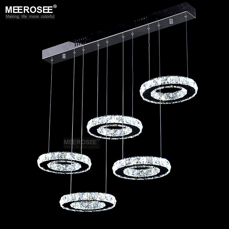 Good Quality Chrome Crystal Chandelier LED Diamond Ring Lamp Circle Stainless Steel Hanging Light Fixtures Lighting LED Lustres